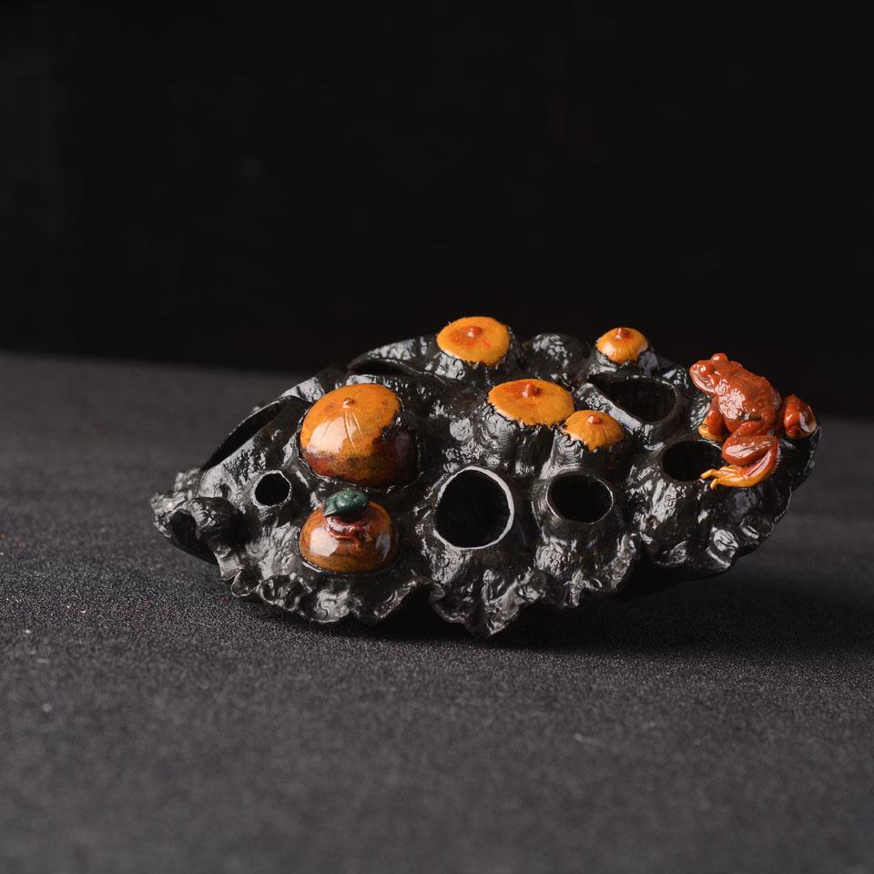 石英岩玉玉雕 蛙鸣富贵