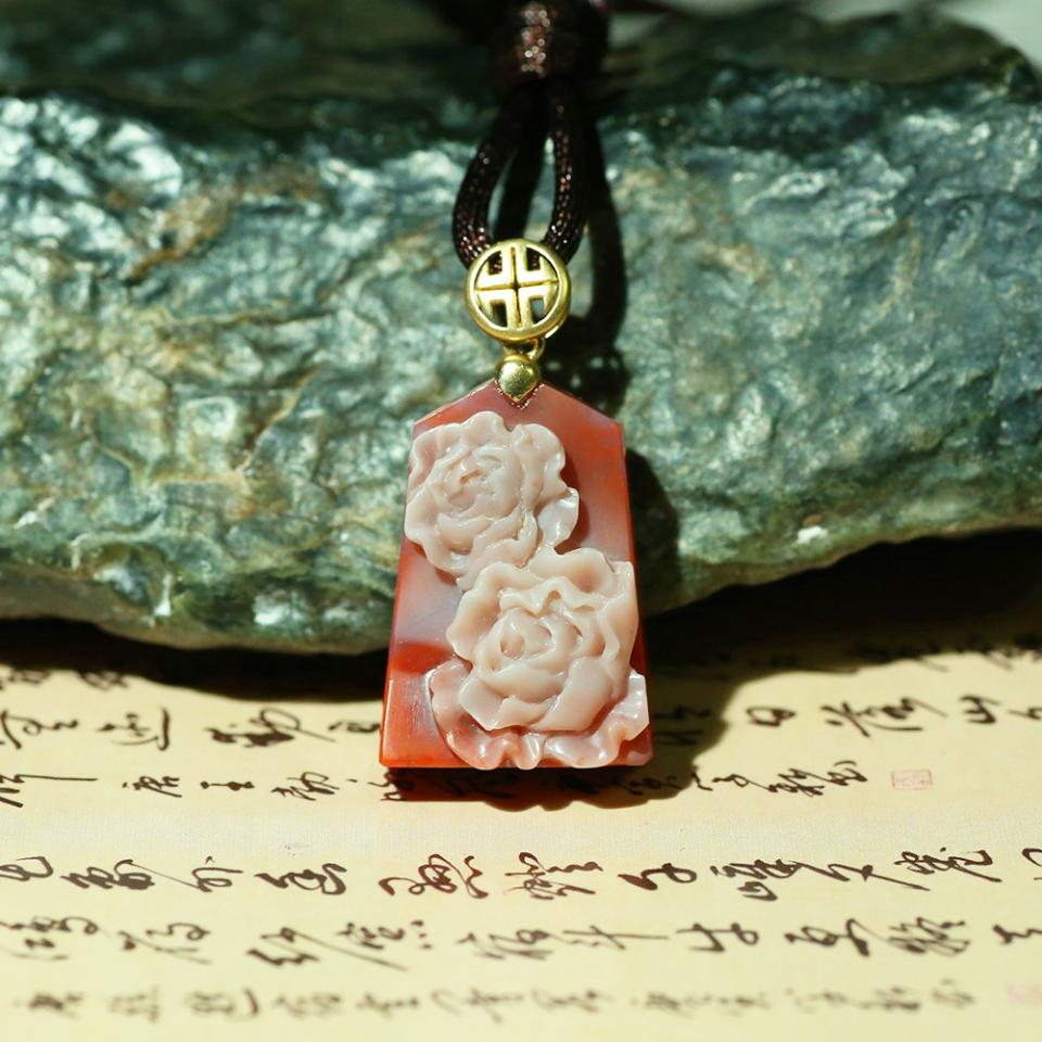 南红玉雕 花开富贵